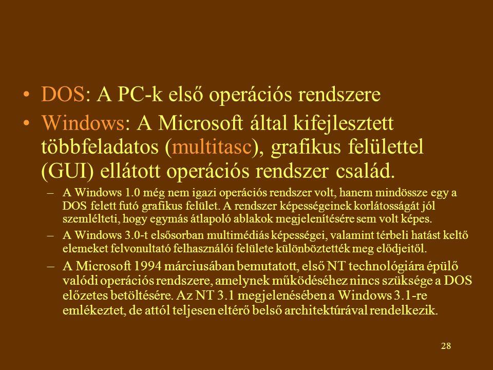 DOS: A PC-k első operációs rendszere