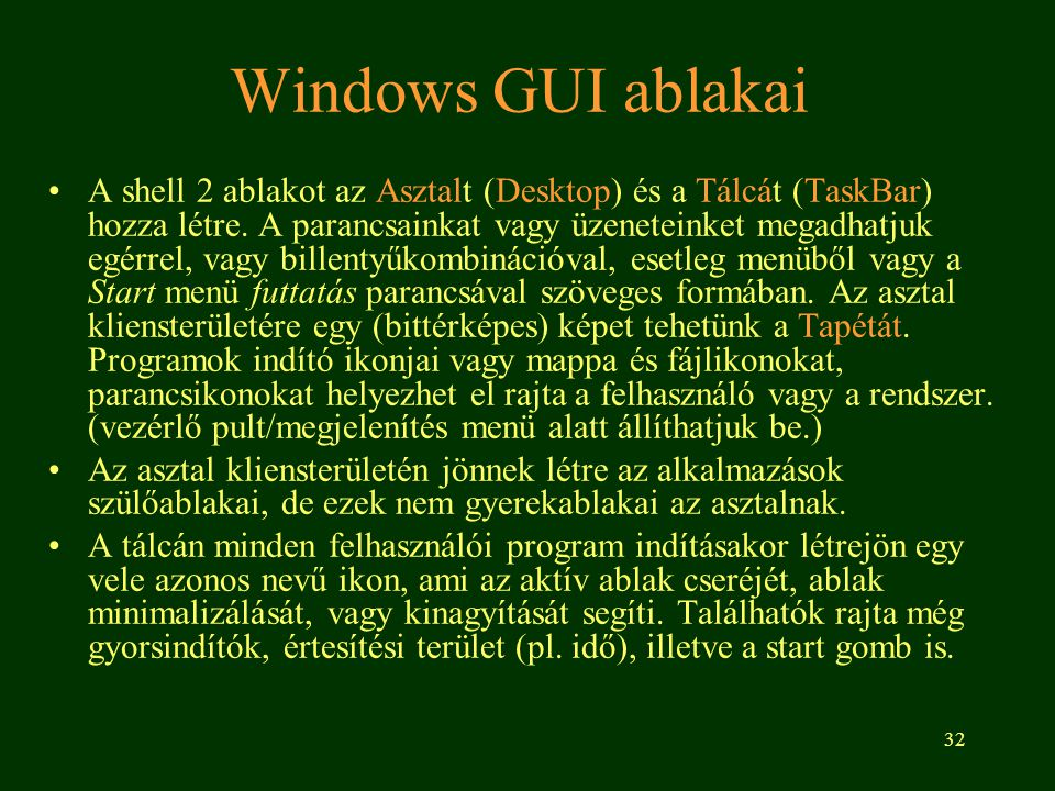 Windows GUI ablakai