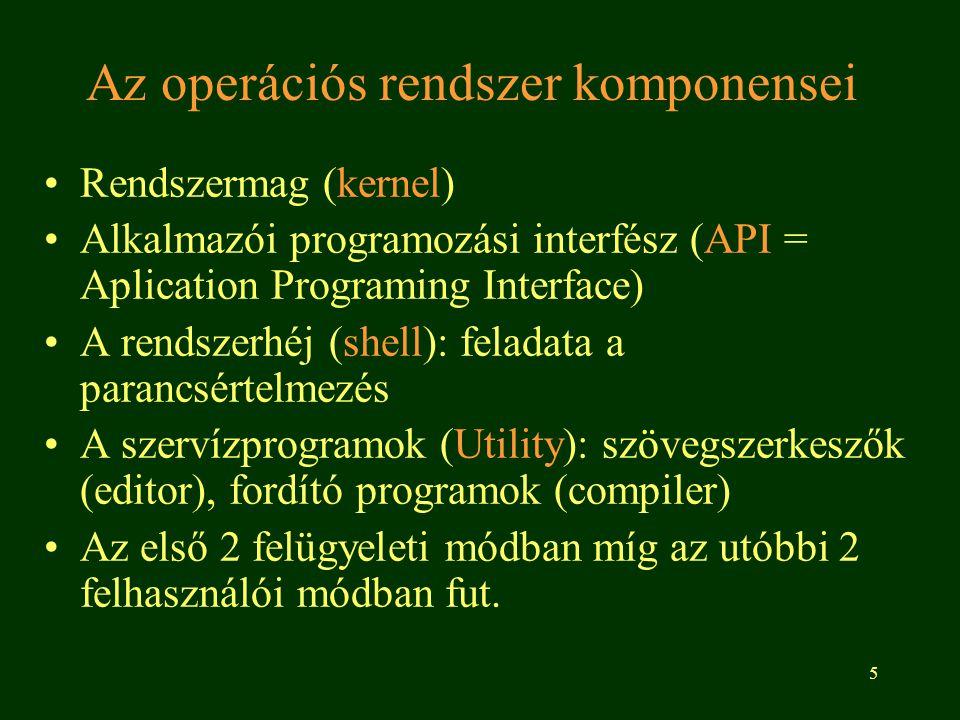 Az operációs rendszer komponensei