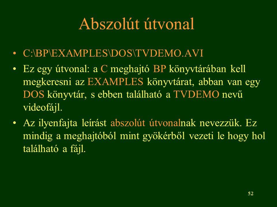 Abszolút útvonal C:\BP\EXAMPLES\DOS\TVDEMO.AVI
