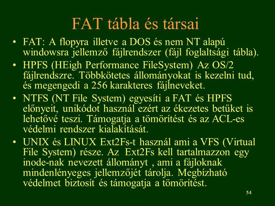 FAT tábla és társai FAT: A flopyra illetve a DOS és nem NT alapú windowsra jellemző fájlrendszer (fájl foglaltsági tábla).