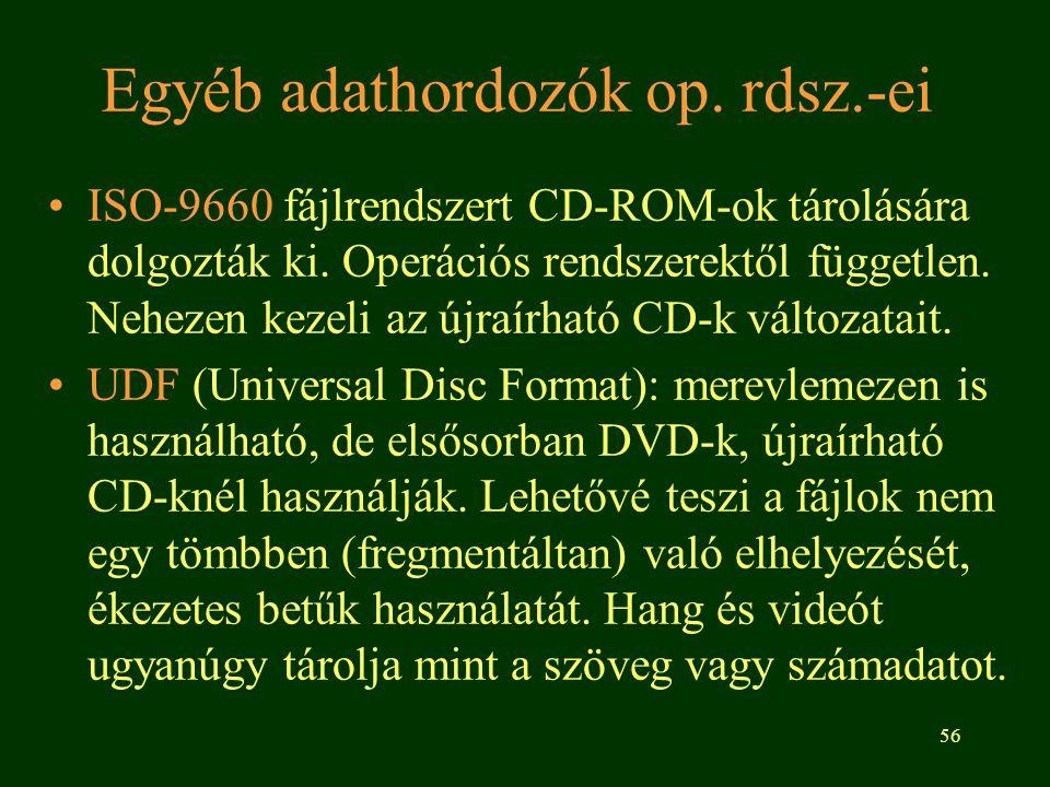 Egyéb adathordozók op. rdsz.-ei