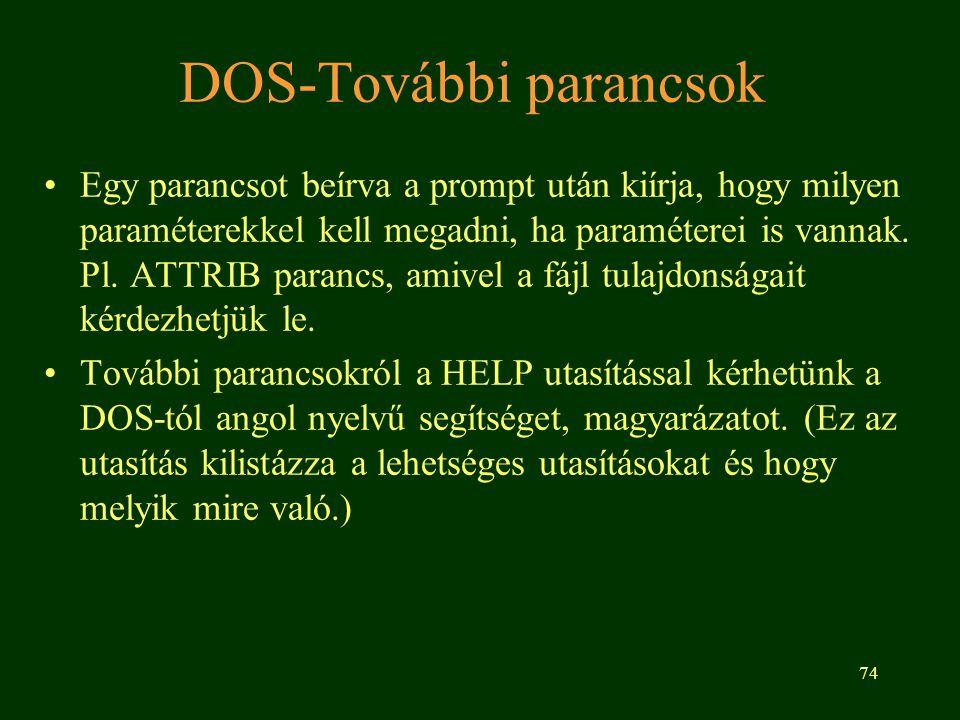 DOS-További parancsok