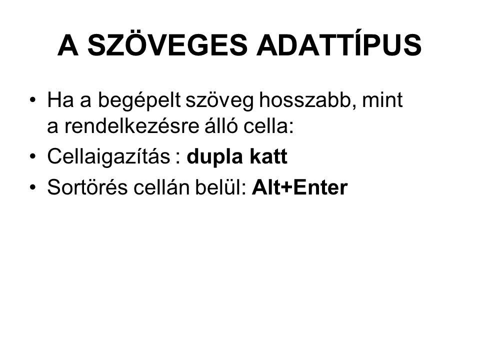 A SZÖVEGES ADATTÍPUS Ha a begépelt szöveg hosszabb, mint a rendelkezésre álló cella: Cellaigazítás : dupla katt.