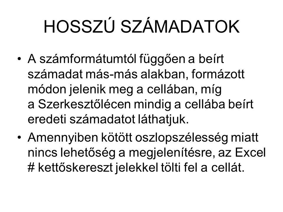 HOSSZÚ SZÁMADATOK
