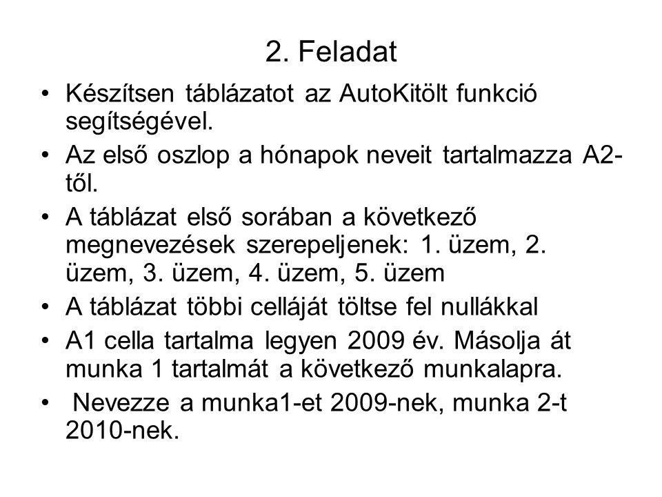2. Feladat Készítsen táblázatot az AutoKitölt funkció segítségével.