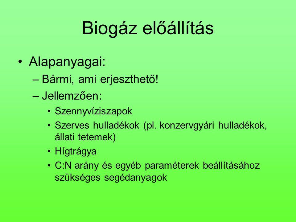 Biogáz előállítás Alapanyagai: Bármi, ami erjeszthető! Jellemzően: