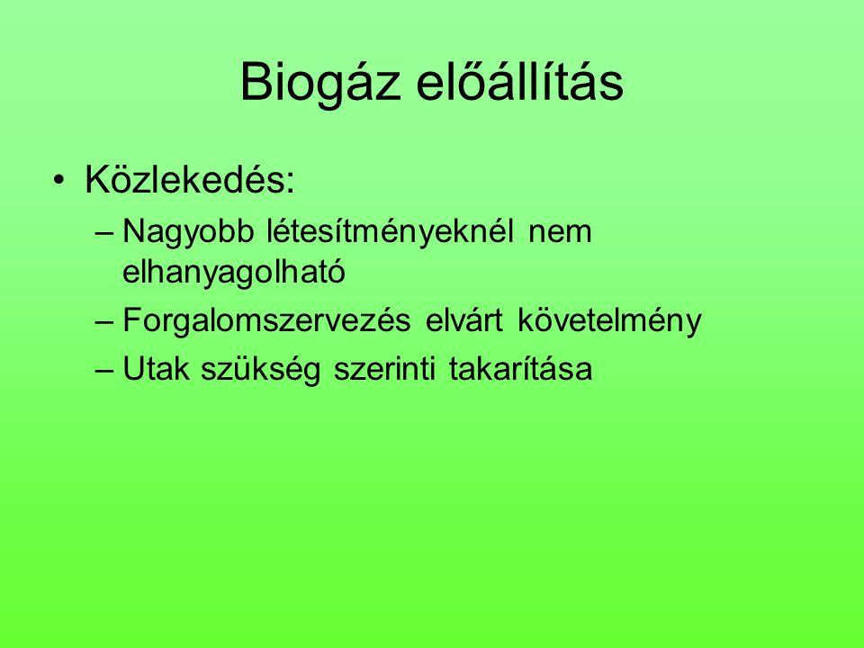 Biogáz előállítás Közlekedés: