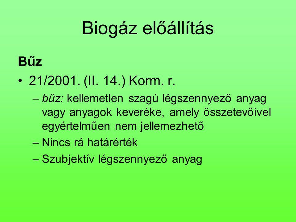Biogáz előállítás Bűz 21/2001. (II. 14.) Korm. r.