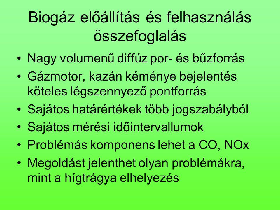 Biogáz előállítás és felhasználás összefoglalás