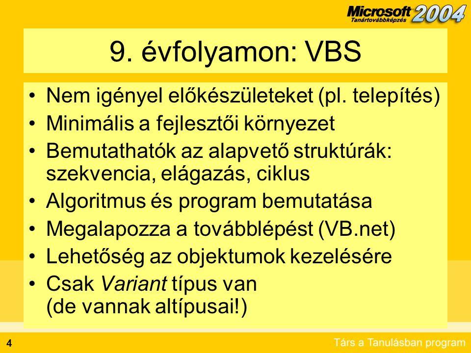 9. évfolyamon: VBS Nem igényel előkészületeket (pl. telepítés)