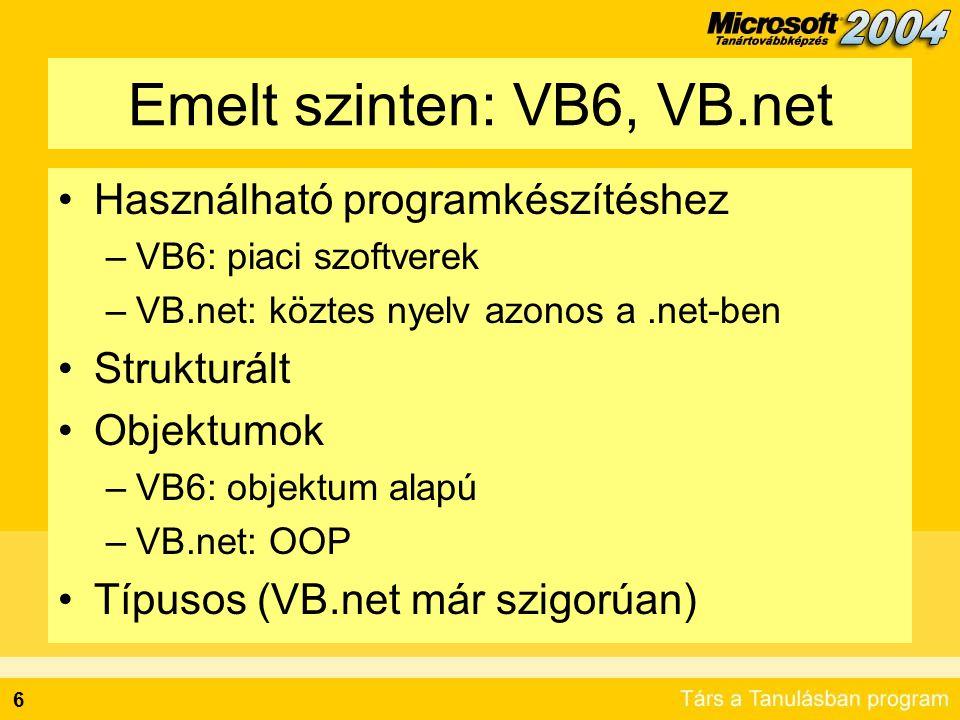 Emelt szinten: VB6, VB.net