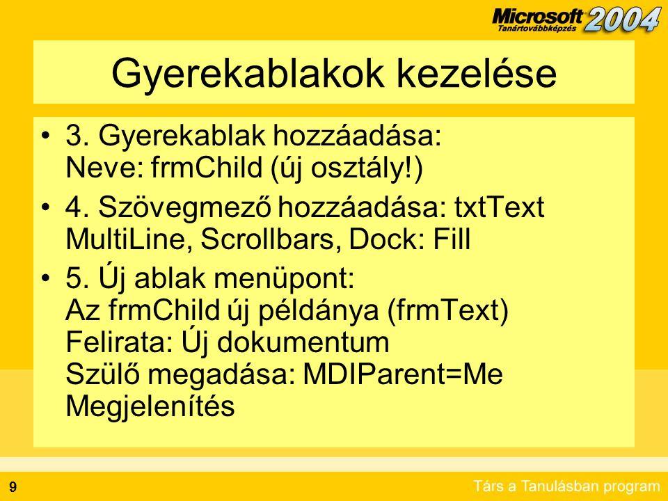 Gyerekablakok kezelése