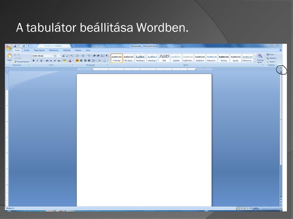 A tabulátor beállitása Wordben.