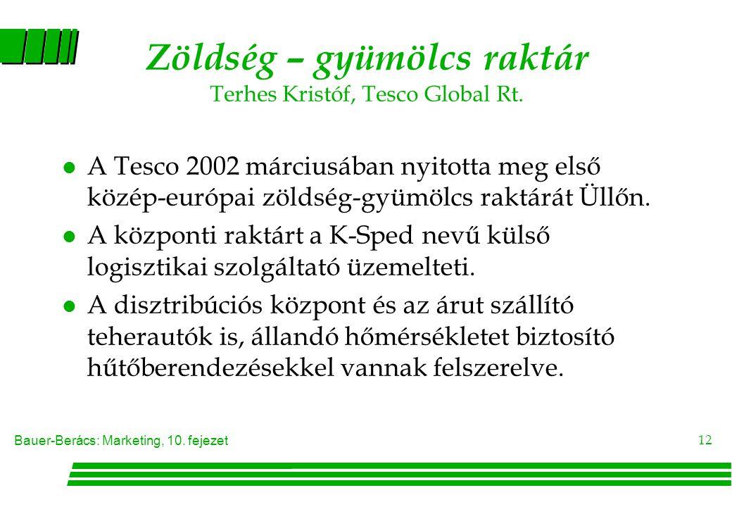 Zöldség – gyümölcs raktár Terhes Kristóf, Tesco Global Rt.