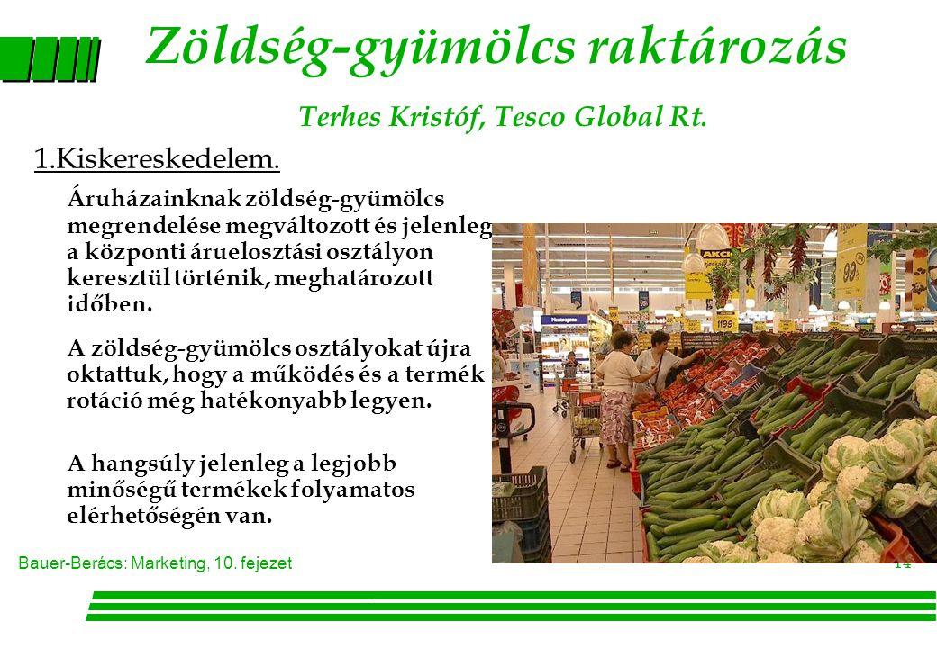 Zöldség-gyümölcs raktározás Terhes Kristóf, Tesco Global Rt.