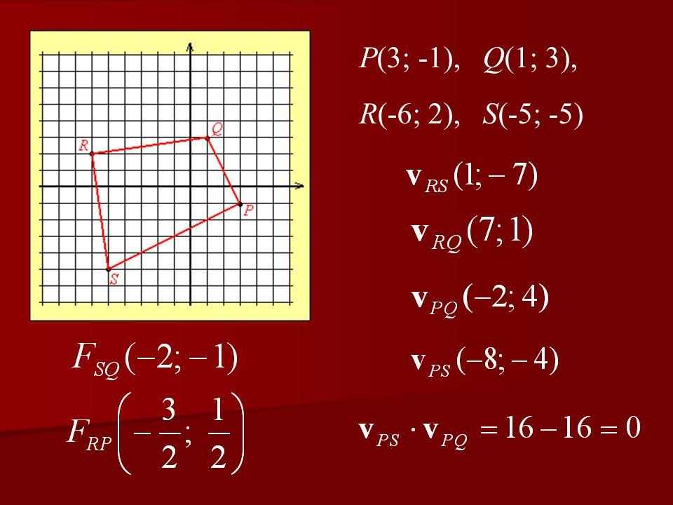 P(3; -1), Q(1; 3), R(-6; 2), S(-5; -5)
