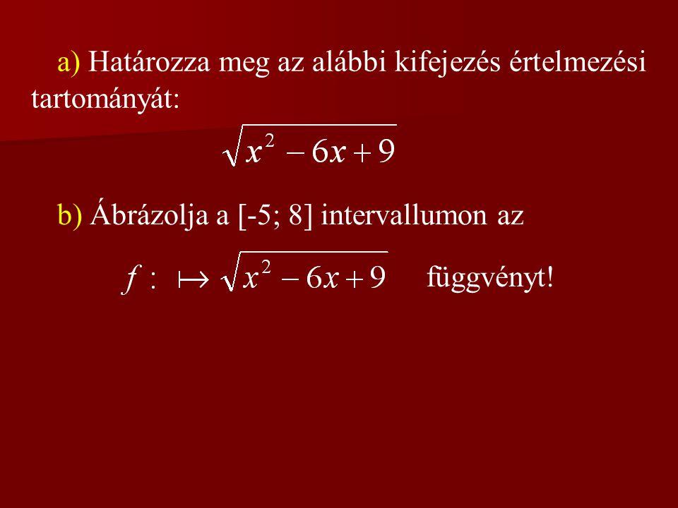 a) Határozza meg az alábbi kifejezés értelmezési tartományát:
