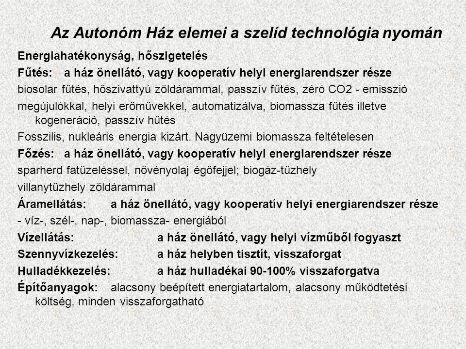 Az Autonóm Ház elemei a szelíd technológia nyomán