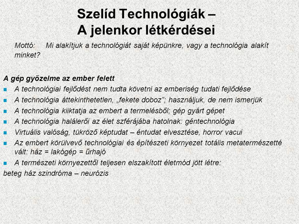 Szelíd Technológiák – A jelenkor létkérdései