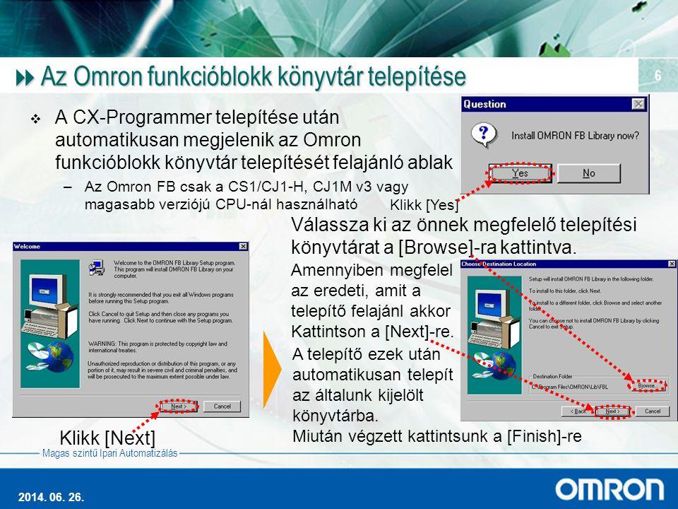 Az Omron funkcióblokk könyvtár telepítése