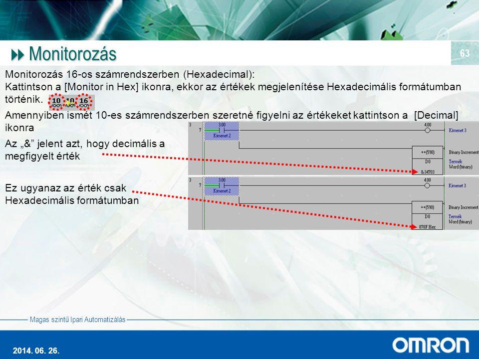 Monitorozás Monitorozás 16-os számrendszerben (Hexadecimal):