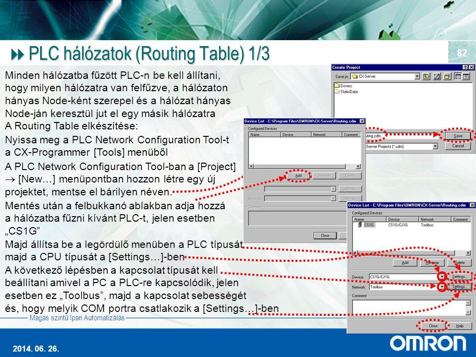 PLC hálózatok (Routing Table) 1/3