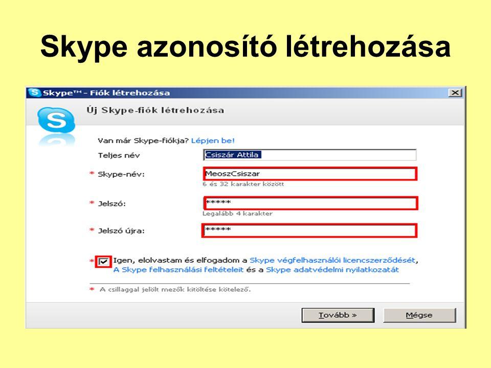 Skype azonosító létrehozása