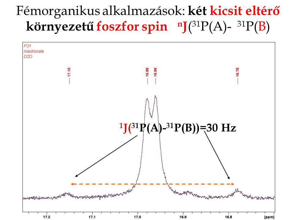 Fémorganikus alkalmazások: két kicsit eltérő környezetű foszfor spin nJ(31P(A)- 31P(B)