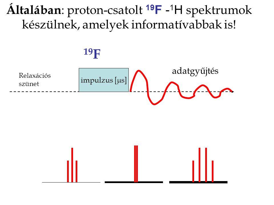 Általában: proton-csatolt 19F -1H spektrumok készülnek, amelyek informatívabbak is!