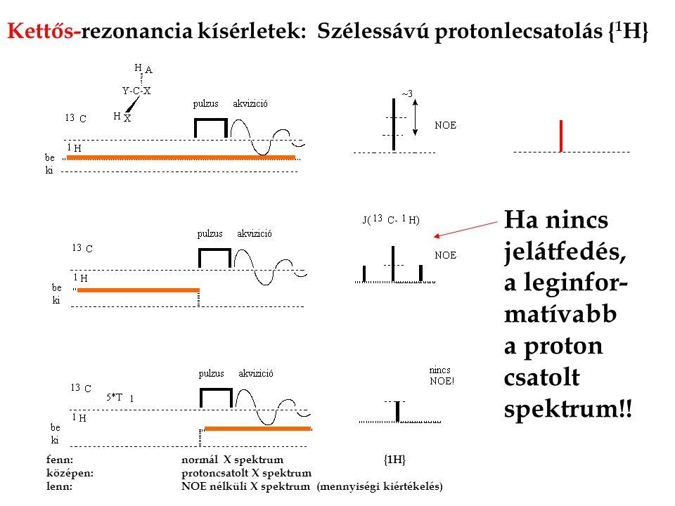 Ha nincs jelátfedés, a leginfor-matívabb a proton csatolt spektrum!!