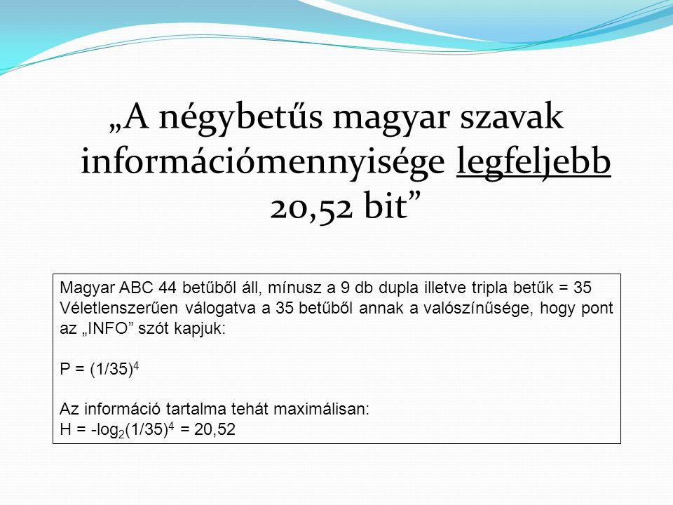 """""""A négybetűs magyar szavak információmennyisége legfeljebb 20,52 bit"""
