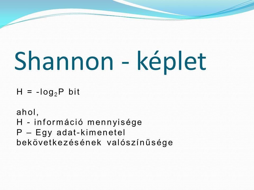 Shannon - képlet H = -log2P bit ahol, H - információ mennyisége
