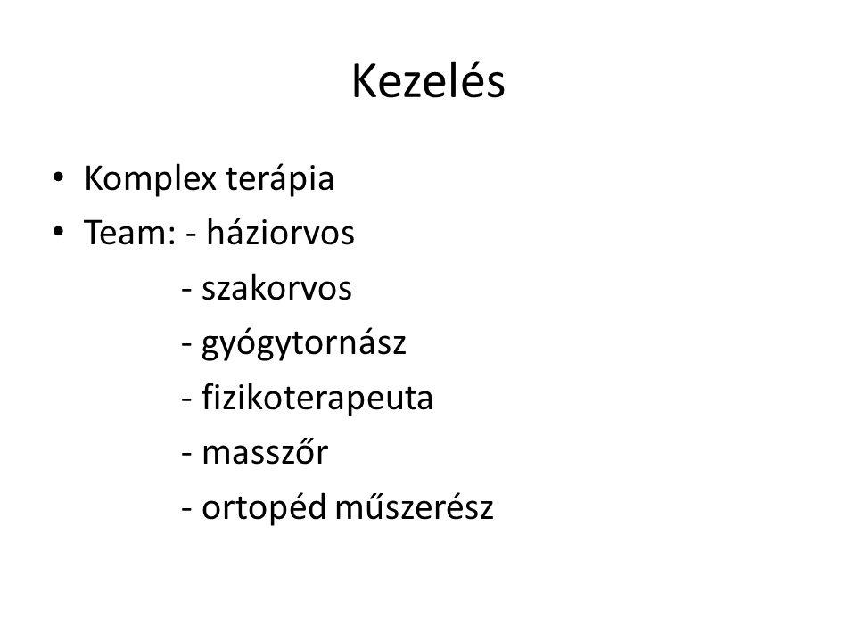 Kezelés Komplex terápia Team: - háziorvos - szakorvos - gyógytornász