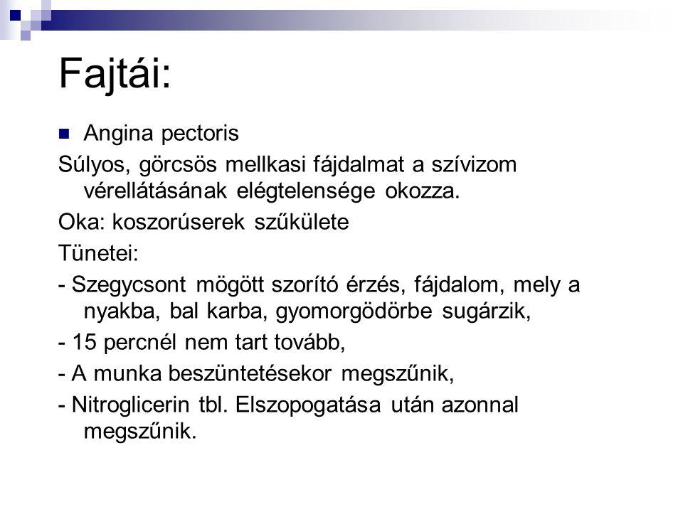 Fajtái: Angina pectoris