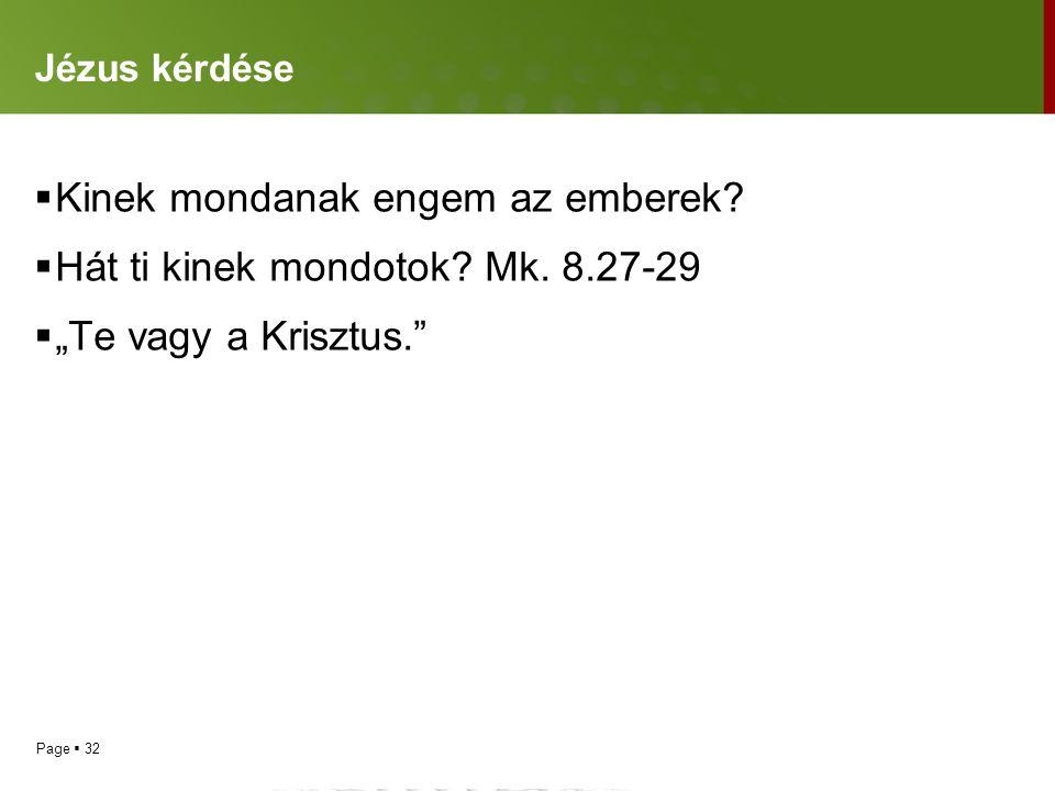 Kinek mondanak engem az emberek Hát ti kinek mondotok Mk. 8.27-29