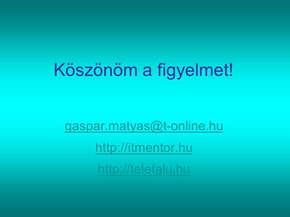 Köszönöm a figyelmet! gaspar.matyas@t-online.hu http://itmentor.hu