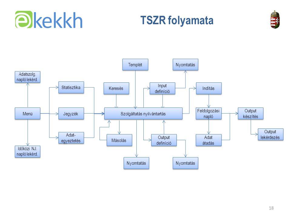 TSZR folyamata Templét Nyomtatás Statisztika Keresés Input definíció