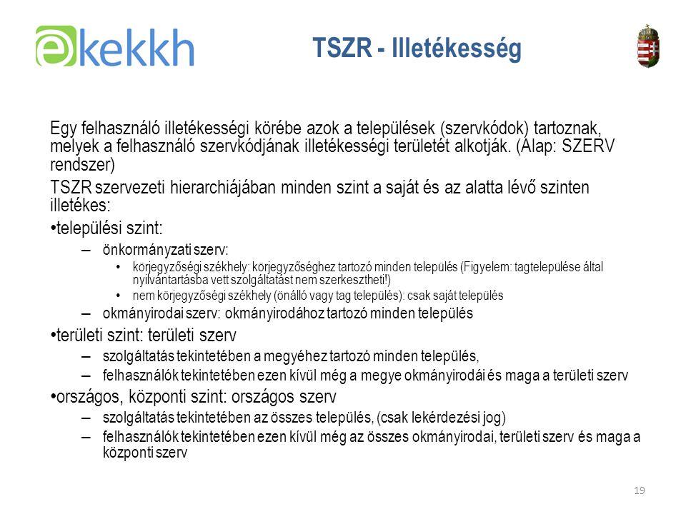 TSZR - Illetékesség