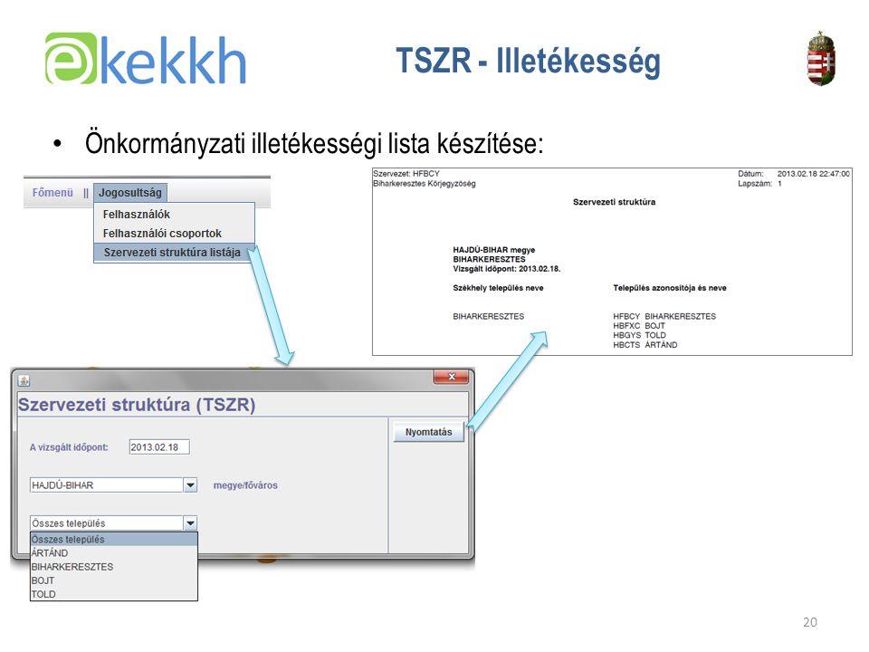 TSZR - Illetékesség Önkormányzati illetékességi lista készítése: