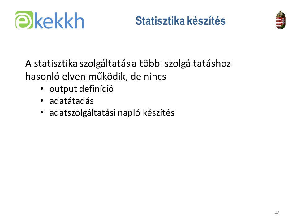 Statisztika készítés A statisztika szolgáltatás a többi szolgáltatáshoz hasonló elven működik, de nincs.