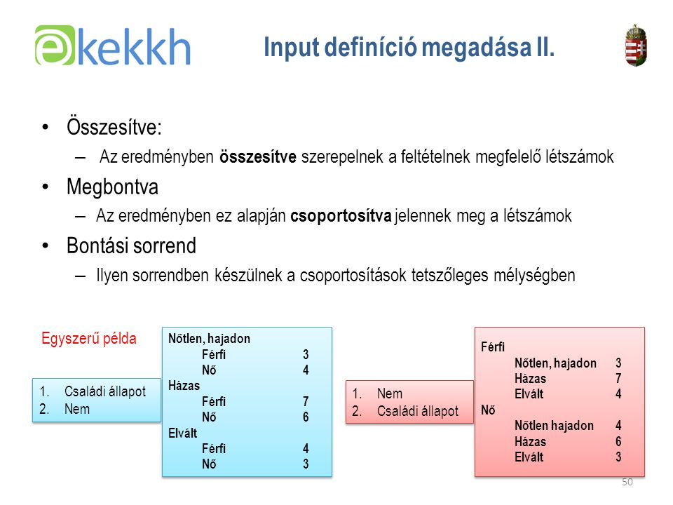 Input definíció megadása II.