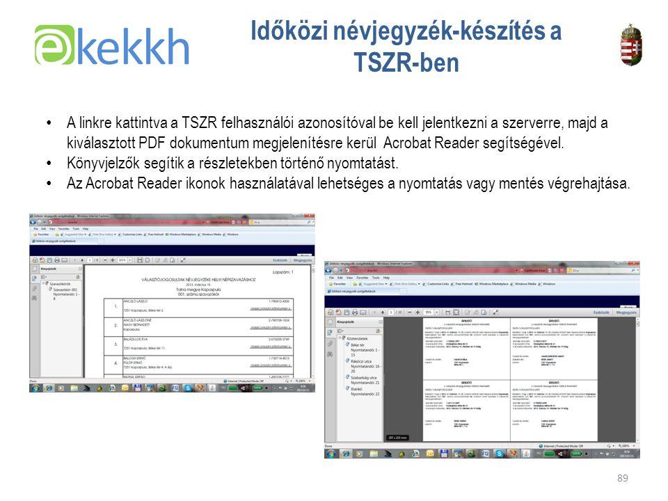 Időközi névjegyzék-készítés a TSZR-ben