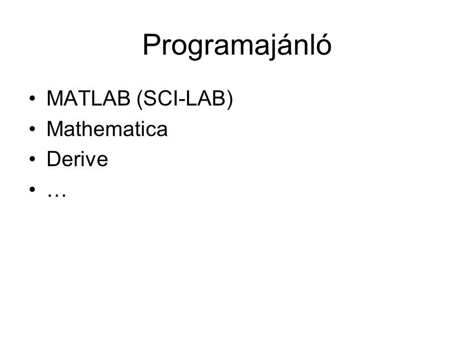 Programajánló MATLAB (SCI-LAB) Mathematica Derive …