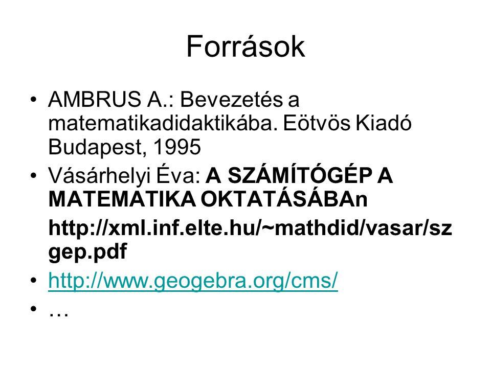 Források AMBRUS A.: Bevezetés a matematikadidaktikába. Eötvös Kiadó Budapest, 1995. Vásárhelyi Éva: A SZÁMÍTÓGÉP A MATEMATIKA OKTATÁSÁBAn.