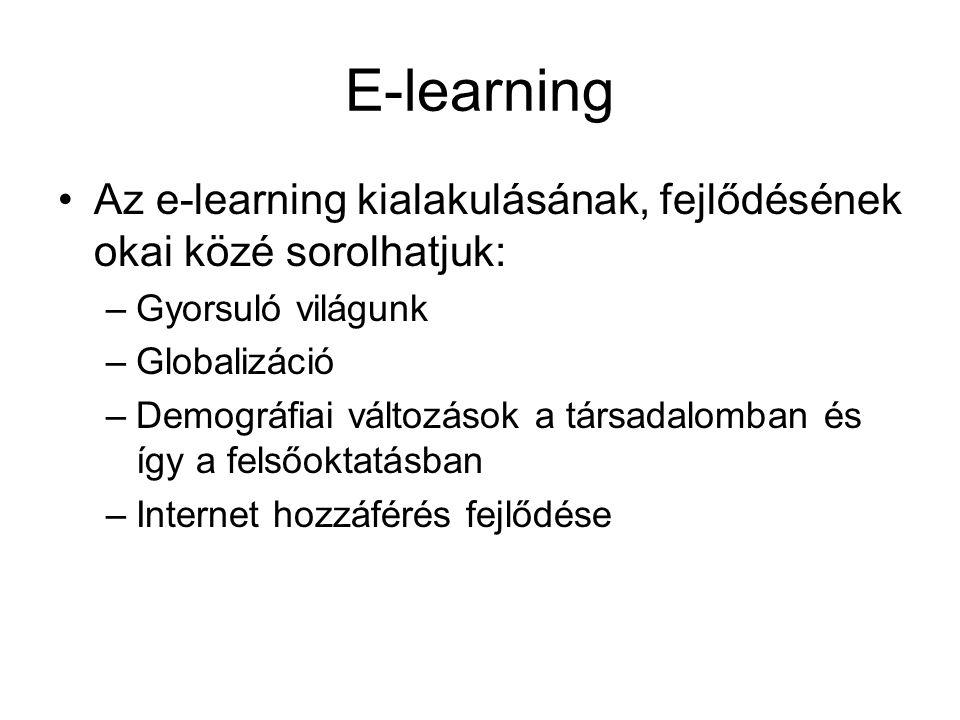 E-learning Az e-learning kialakulásának, fejlődésének okai közé sorolhatjuk: Gyorsuló világunk. Globalizáció.