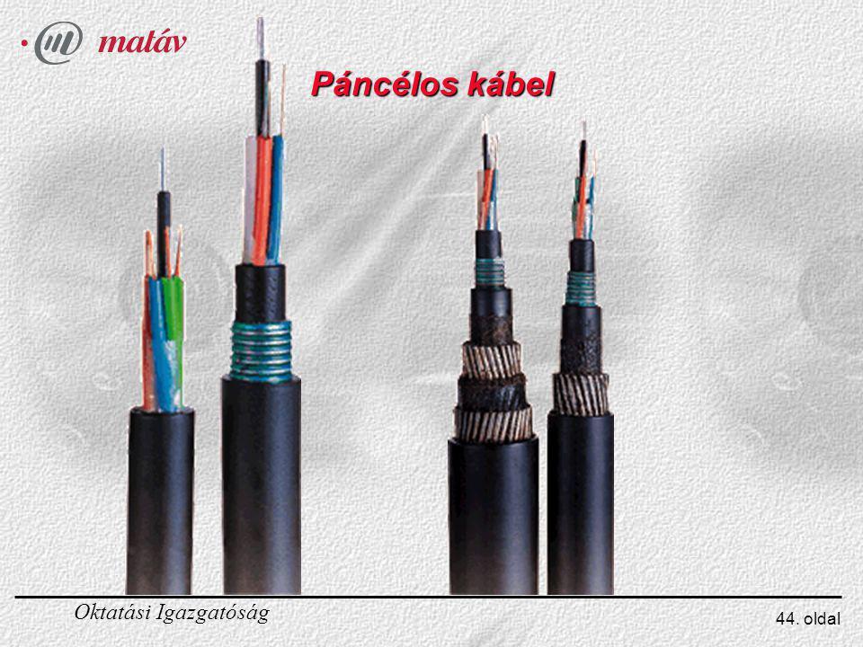 Páncélos kábel Az ábrán egy 4x10-es páncélos kábel látható.