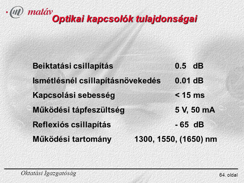 Optikai kapcsolók tulajdonságai