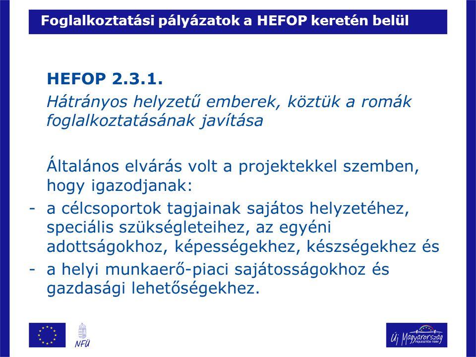 Foglalkoztatási pályázatok a HEFOP keretén belül