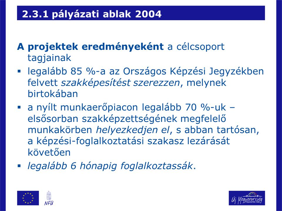 2.3.1 pályázati ablak 2004 A projektek eredményeként a célcsoport tagjainak.